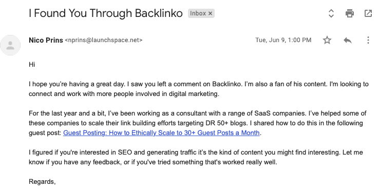 Cold email outreach for guest post