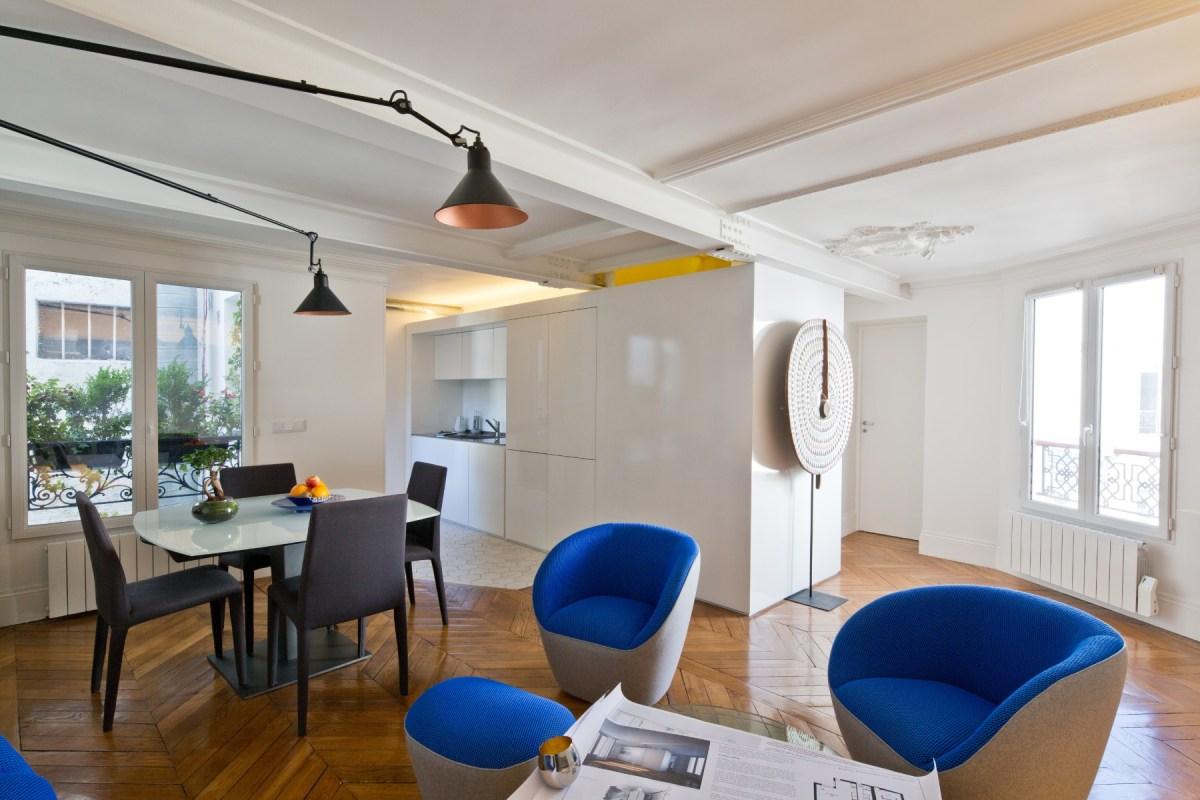 Rénovation d'un appartement en duplex à Paris par Archibien et son architecte - pièce de vie salon