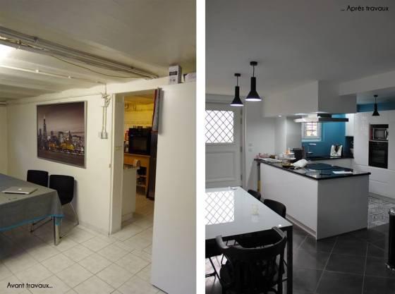 Avant et après les travaux de rénovation de la cuisine et de la salle à manger Archibien
