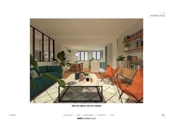 Planche de proposition d'une agence d'architecture. Il y a un plan 3D d'un séjour.