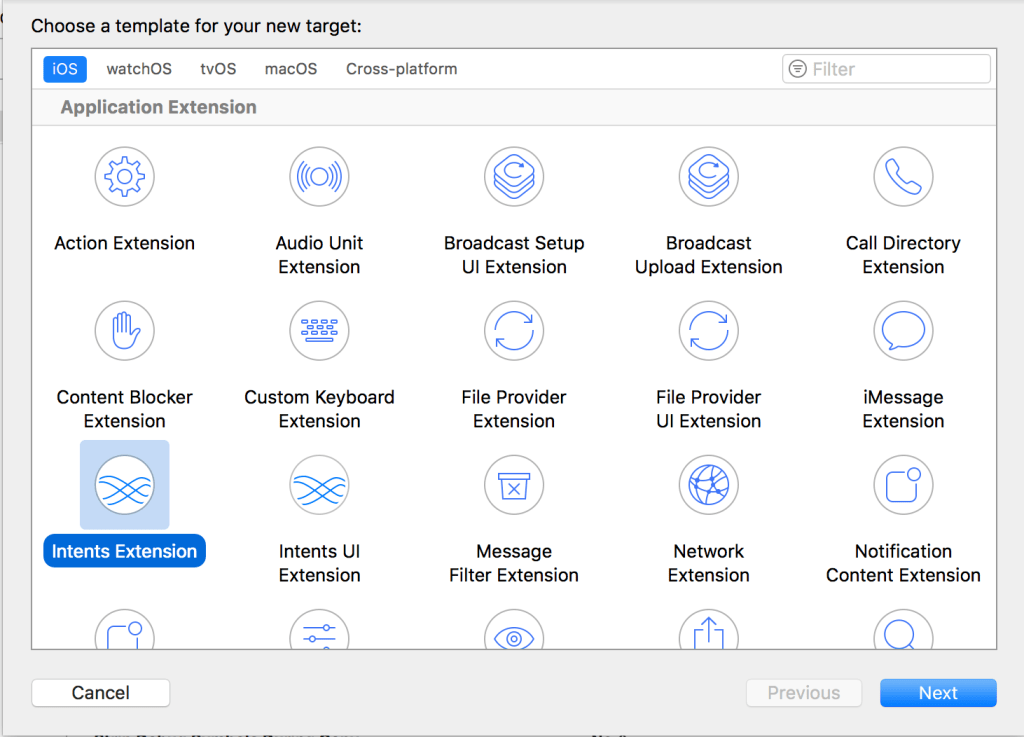 A screenshot showing the Intents extension in the New Target dialog in Xcode