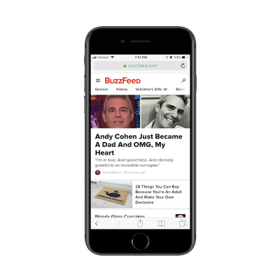 Navigation mobile BuzzFeed