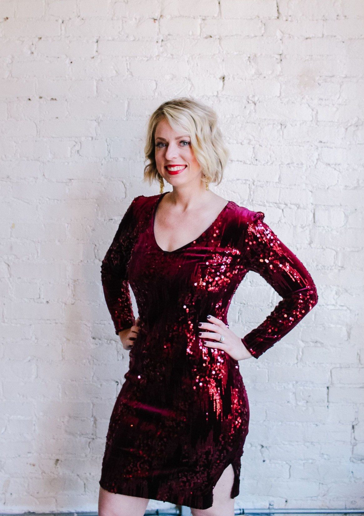 woman in red holiday dress