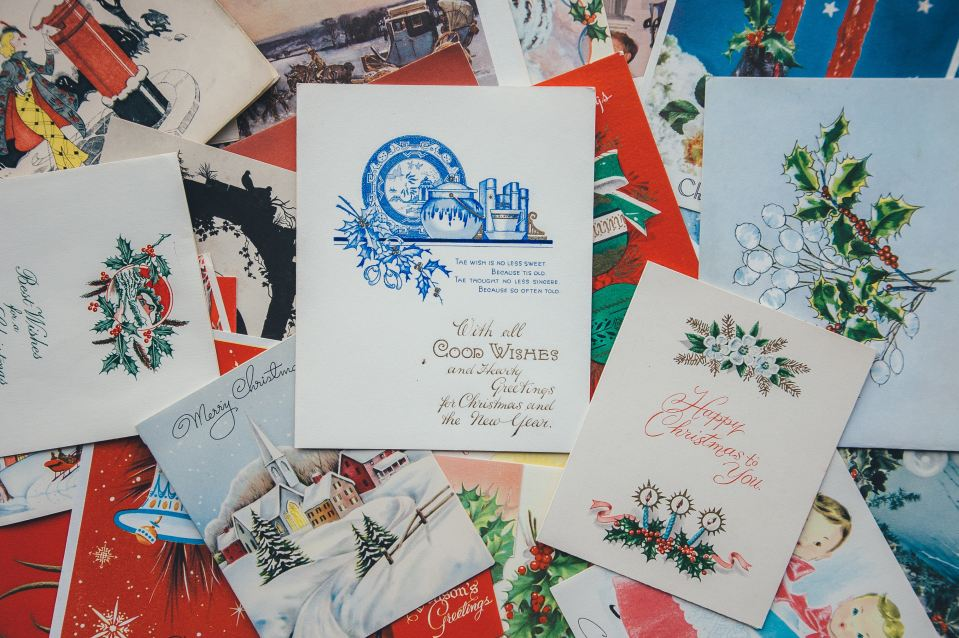 pile of Christmas cards and holiday cards