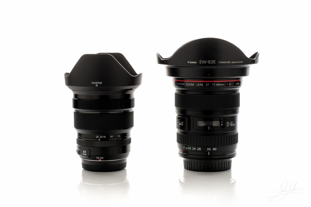 Fuji10-24mm f/4 vs Canon 17-40mm f/4 lens