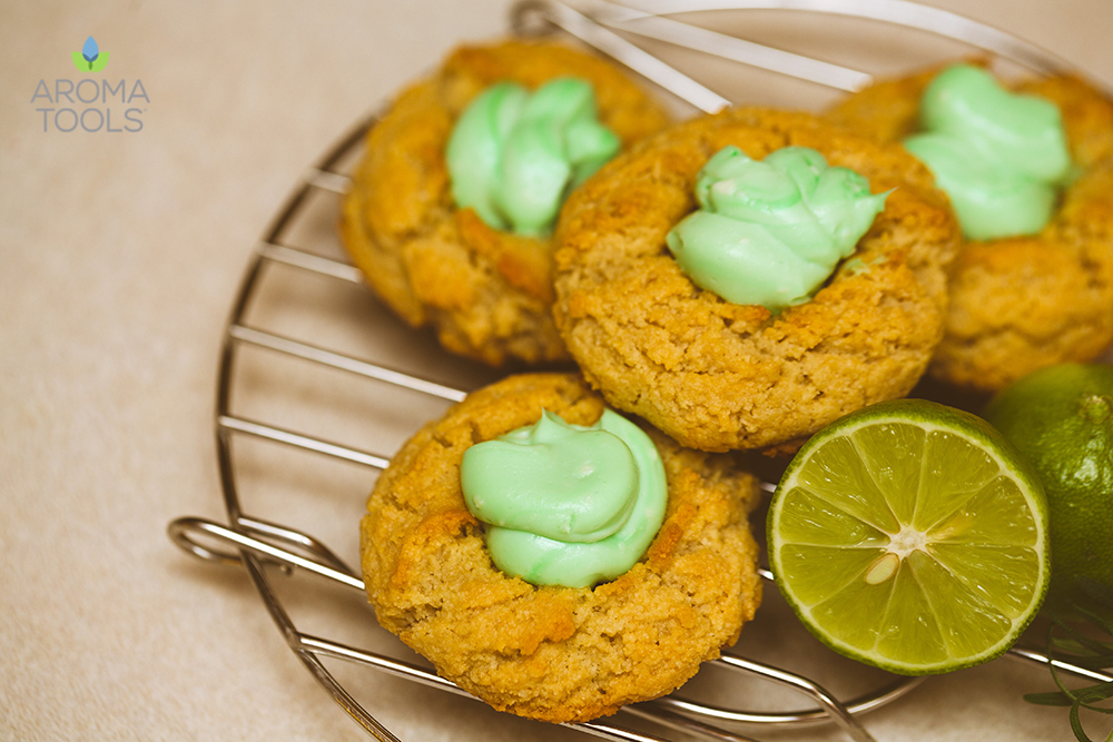 Almond Thumbprint Cookies with Lime Frosting