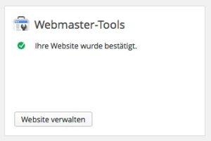 Erfolgreiche Verbindung mit dem Google Webmaster Tools