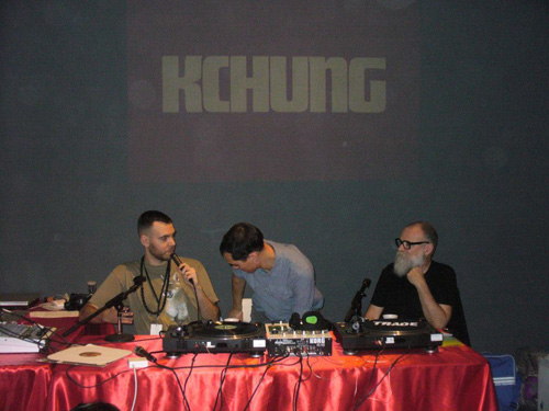 Fair organizer AA Bronson, right, hangs out with the deejays of KCHUNG Radio