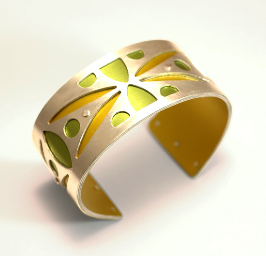 Small Two-Tone Spear Cuff - Gold & Lime by Gogo Borgerding