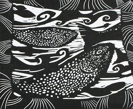 Oregon II linocut print by Midge Black