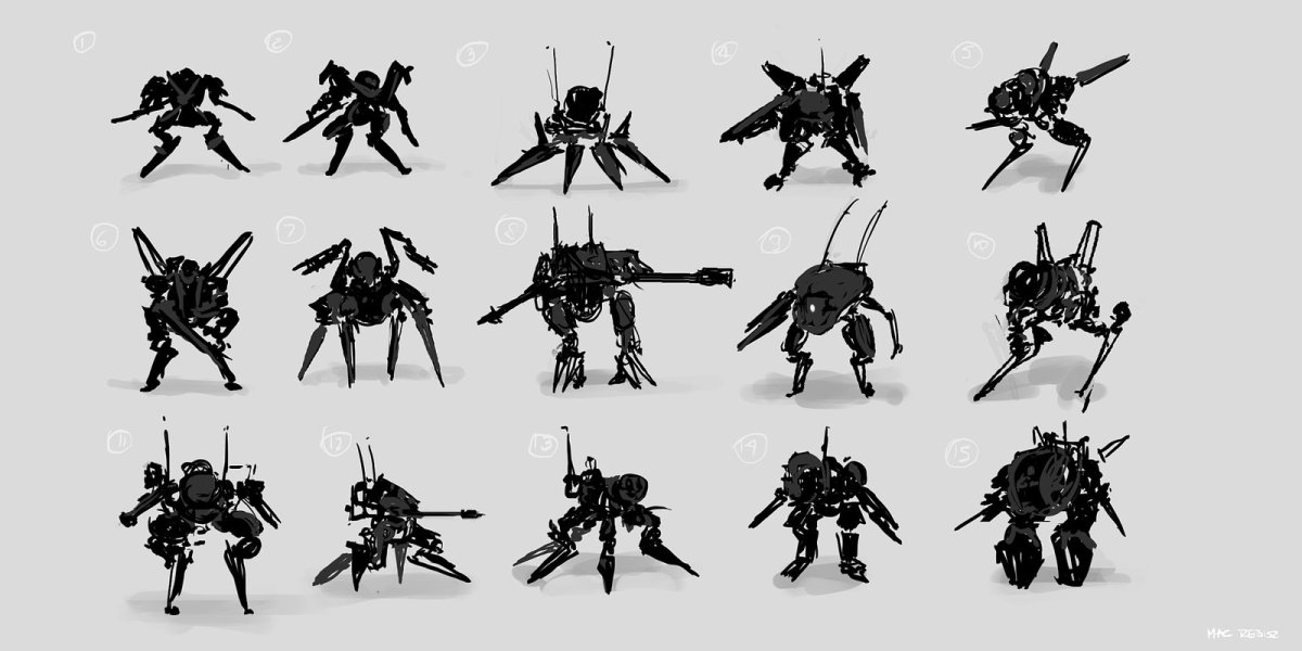 Tutorial - Maciej Rebisz - Mecha thumbnail sketches