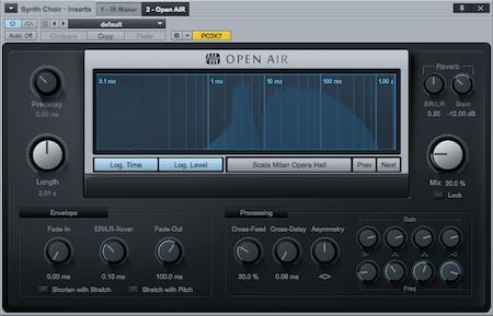 OpenAIR, plugin Convolution Reverb bawaan Presonus Studio One