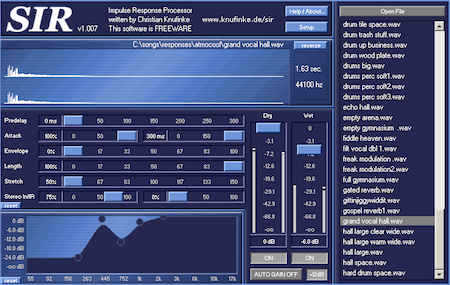 SIR1, plugin Convolution Reverb FREEWARE dari Knufinke