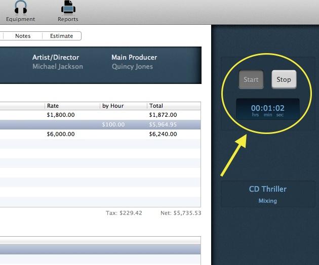 Fitur penghitung waktu kerja Anda pada Audio Studio Manager