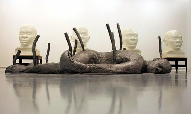 """Assan Smati """"Le Boxeur"""", sculpture mixte, plomb"""