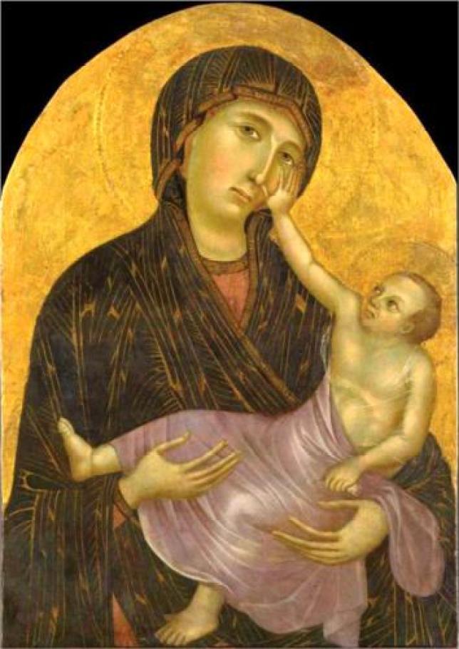 peinture madonna bebe