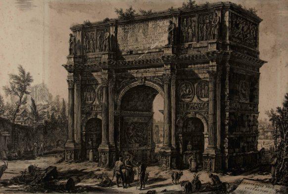 """Giambattista Piranesi, """"Veduta dell'Arco di Costantino"""", Roma [1748-1778]. Bassano del Grappa, Museo Civico, Gabinetto disegni e stampe."""