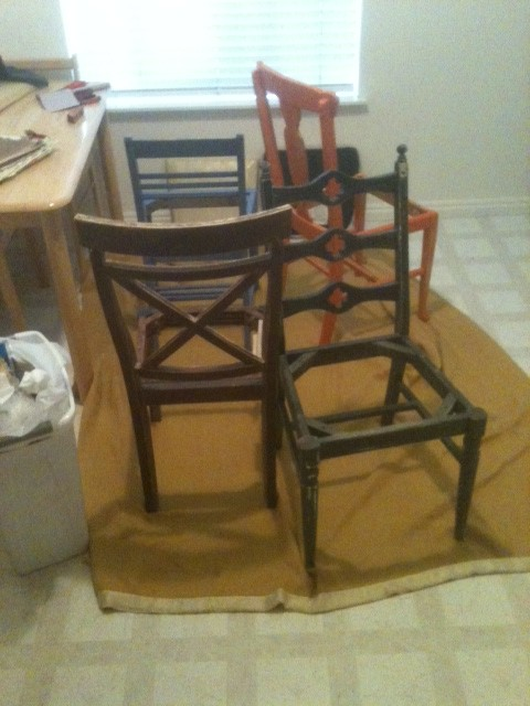 recently sanded chairs