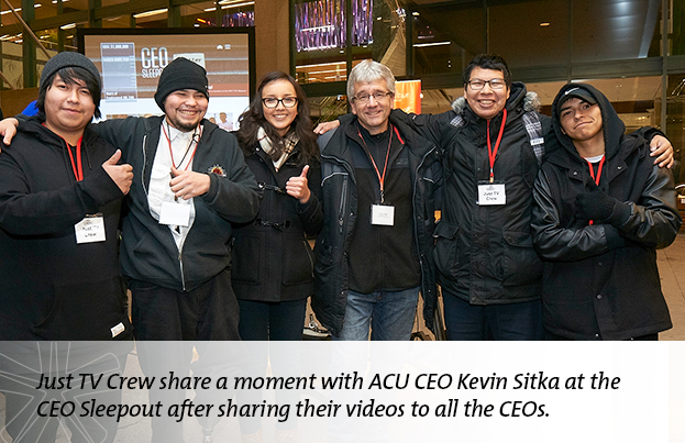 Just TV Crew share a moment with ACU CEO Kevin Sitka at the CEO Sleepout after sharing their videos to all the CEOs.