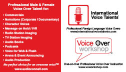 Peter K. O'Connell - audio'connell voice over talent (Card back)