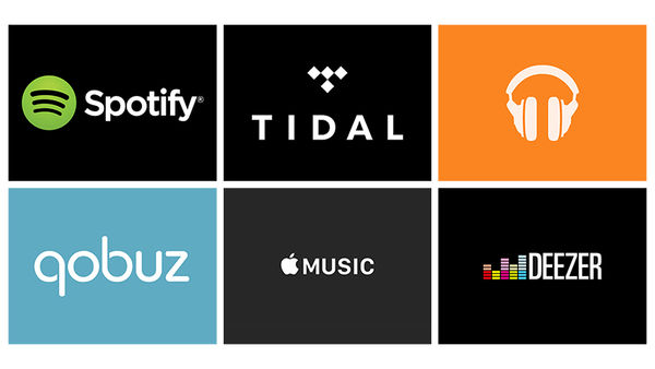 Les 6 leaders : Spotify, Tidal, Google Music, Qobuz, Apple Music, Deezer.