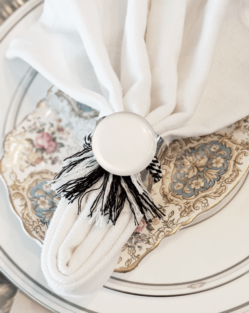 DIY napkin ring using a large pearlized button.