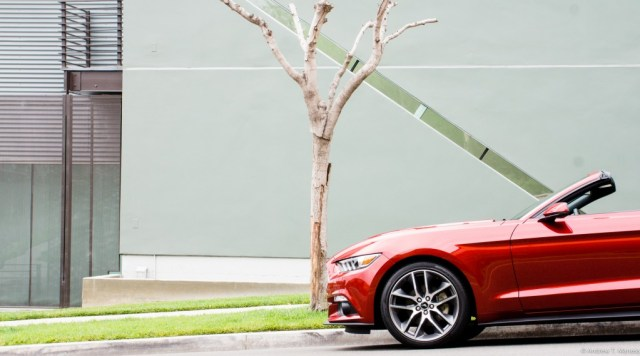 Front end of a red 2015 Mustang convertible parked in front of a tree.