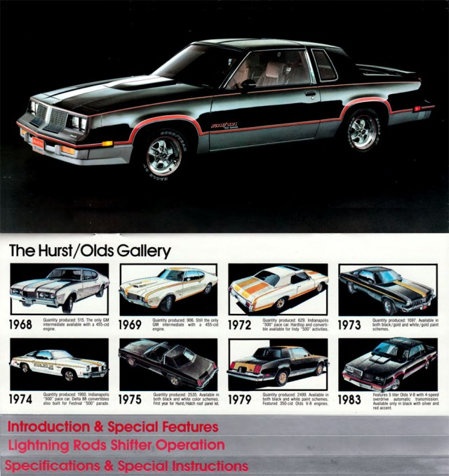 1983 Cutlass Hurst/Olds booklet page featuring Oldsmobile Cutlasses from 1968-1983