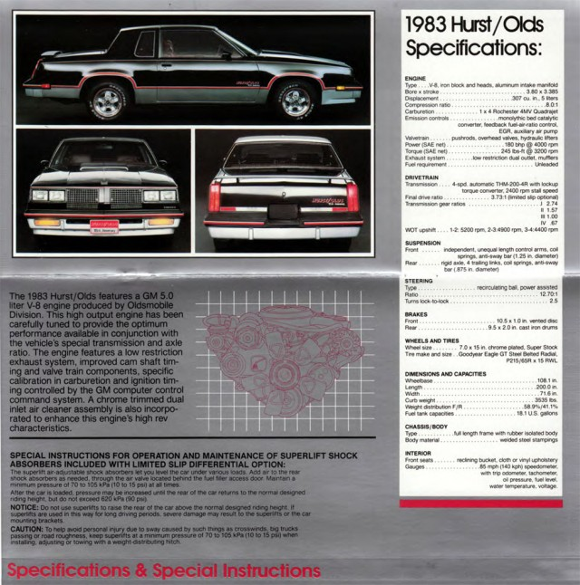 1983 Oldsmobile Cutlass Hurst/Olds Booklet Page with specs and power details.