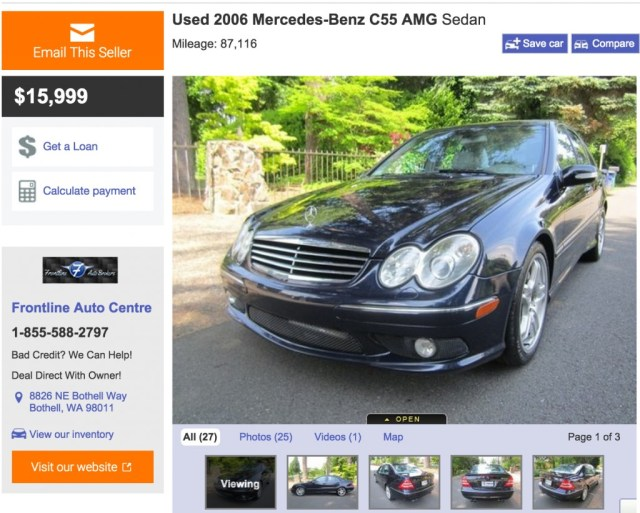 For sale on AutoTrader.com this 2006 Mercedes-Benz C55 AMG sedan is a deal at $15,999. The tasteful color combo and lack of any modification make this a highly desirable example.