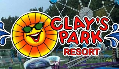 clays park and resort, clays park, rv park, park, picture of clays park logo with park in the background
