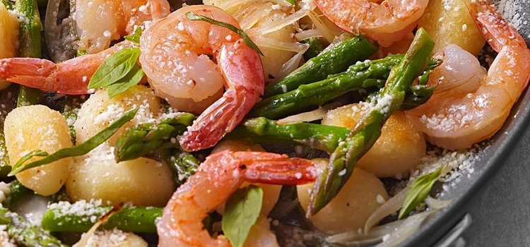 Shrimp and Gnocchi with Asparagus