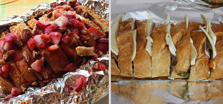 easy camping recipes, picture of campfire french toast on the left and campfire philly cheese steak on the right