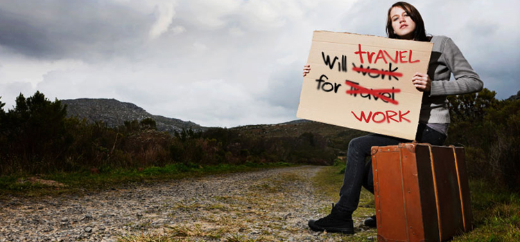 making money on the road, picture of a girl sitting on a suitcase with a will travel for work sign, full time rver