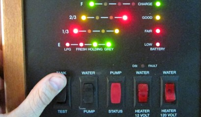 How To Fix RV Water Monitor Lights By Yourself, picture of a RV water monitoring system with its lights on