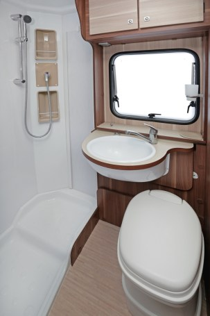 Camper Van or RV Bathroom With Shower and Toilet