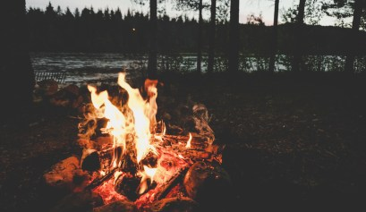 A Campfire on a Swedish river with trees in the dark