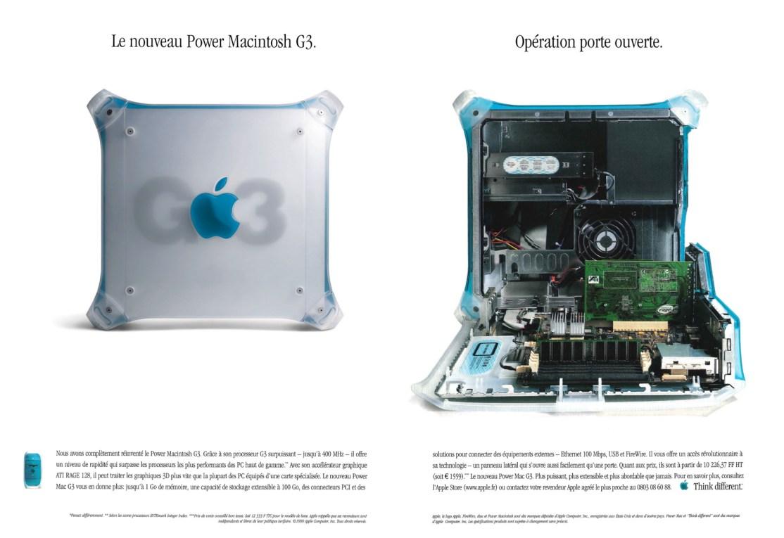 Publicité Apple pour le PowerMac G3 bleu et blanc