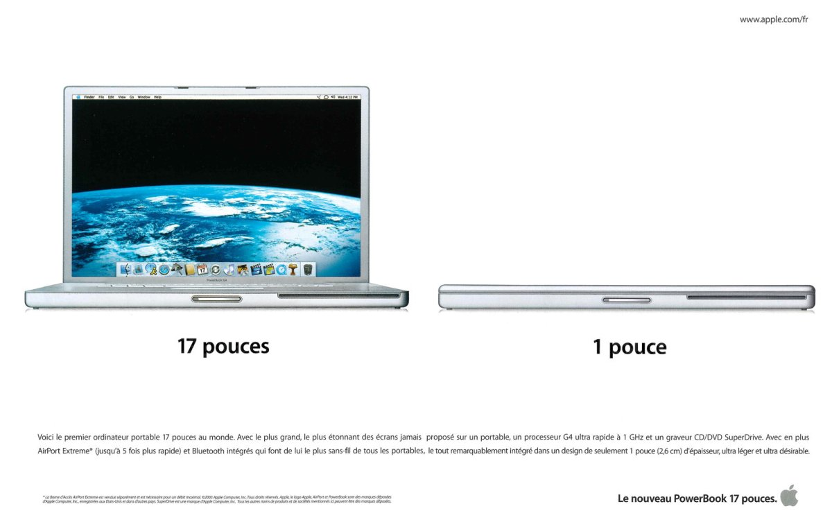 Publicité Apple de 2003 pour le PowerBook G4 17 pouces