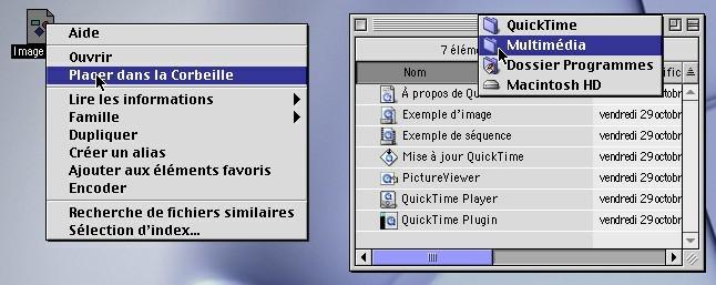 Le Finder de Mac OS 9 avec les touches spéciales