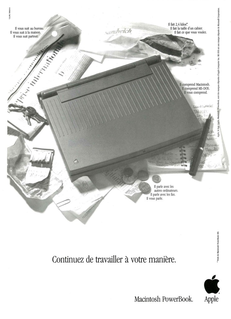 Publicité pour le PowerBook 100