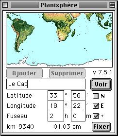 Gros plan sur le planisphère de Mac OS