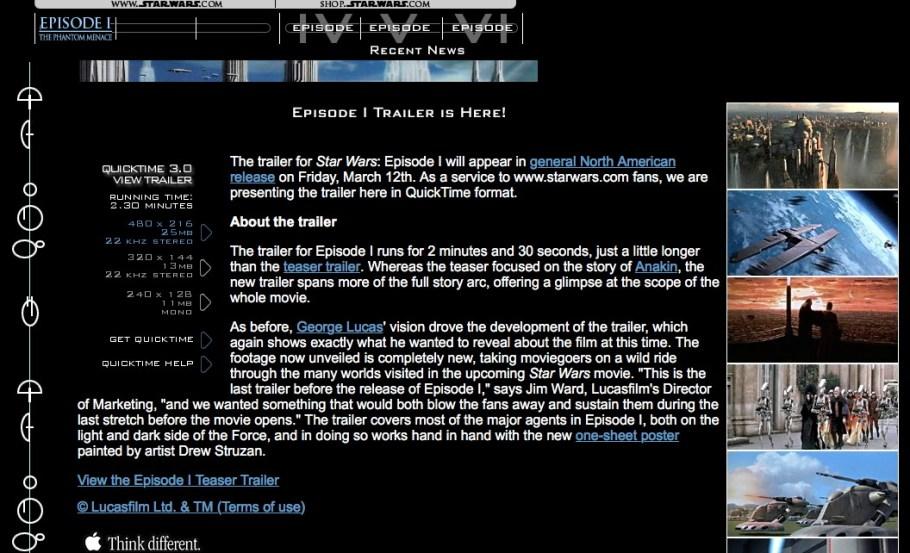 StarWars.com 1999 website