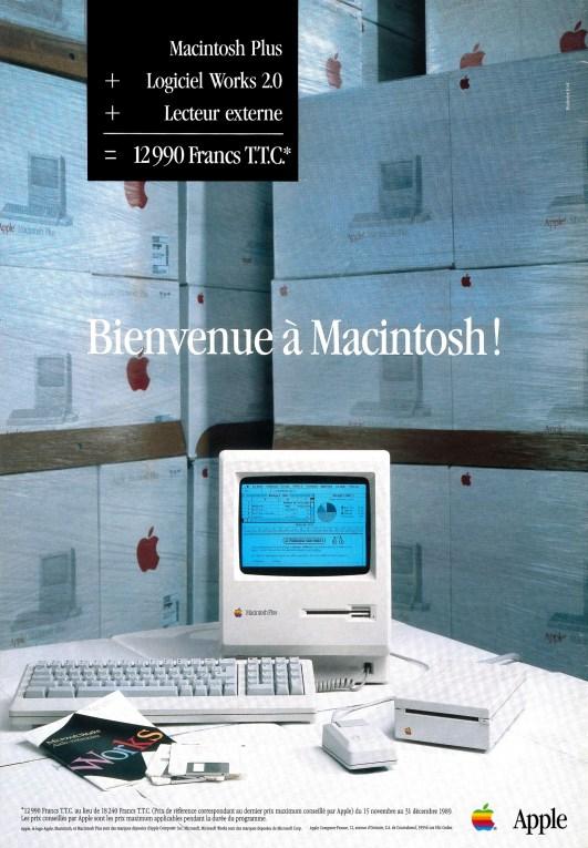 Publicité 1989 Apple Macintosh Plus + Microsoft Works