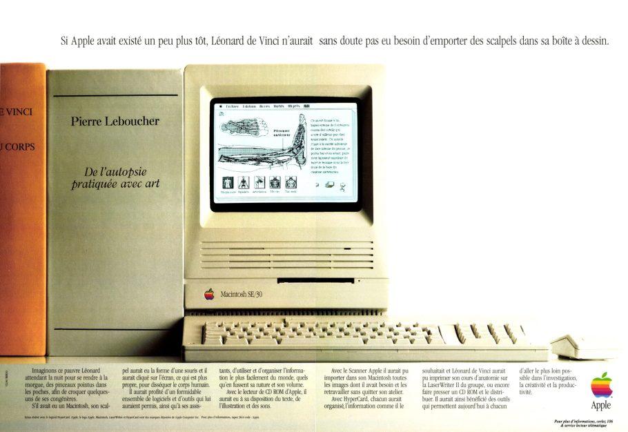 Publicité autopsie De Vinci Apple 1989