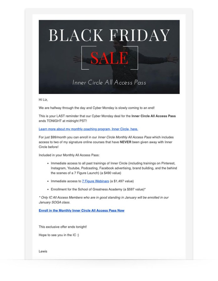 Cyber Monday Email Lewis Howes