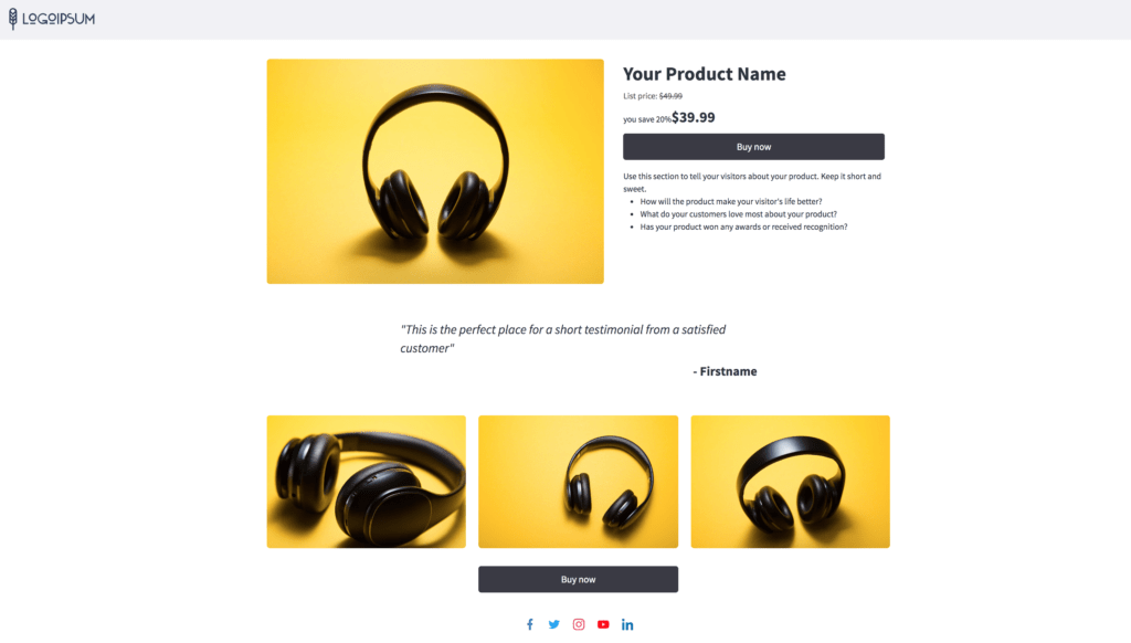 Landing page to sell a product online