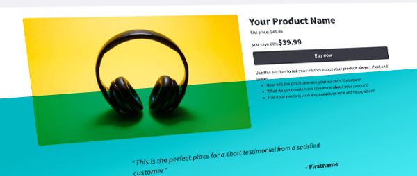 Landing page to sell product