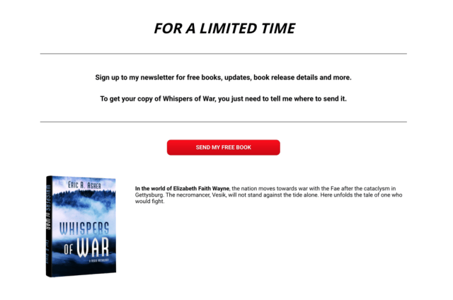 Landing page to request a free Eric Asher book