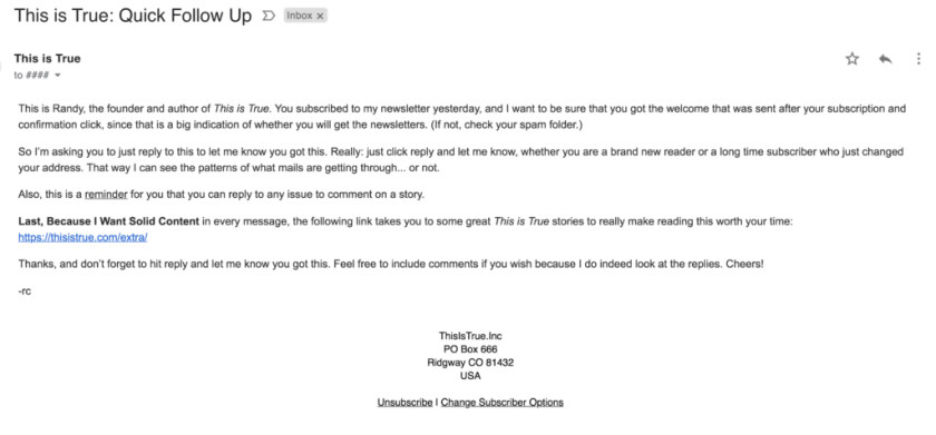 Example of This is True follow up email.
